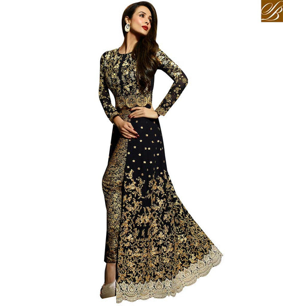 STYLIHS BAZAAR BOLLYWOOD DRESS MALAIKA ARORA KHAN MYSTIC BLACK SLIT SALWAAR SUIT WITH HEAVY WORK GLMAK6203