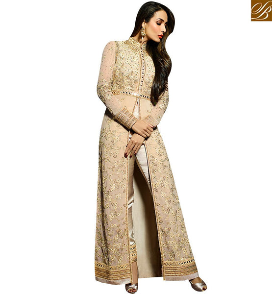 STYLISH BAZAAR BOLLYWOOD DRESS MALAIKA ARORA KHAN BEAUTIFUL BEIGE COLOR SLIT SALWAR SUIT GLMAK6204