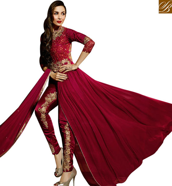 STYLISH BAZAAR BOLLYWOOD DRESS MALAIKA ARORA KHAN MARVELOUS MAROON SLIT SALWAAR SUIT GLMAK6205
