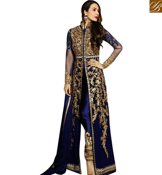STYLISH BAZAAR BOLLYWOOD DRESS MALAIKA ARORA KHAN MAGNIFICENT BLUE SLIT SALWAAR SUIT GLMAK6206