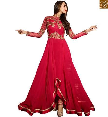 STYLISH BAZAAR BOLLYWOOD ACTRESS MALAIKA ARORA KHAN MARVELOUS MAROON PARTY WEAR SALWAAR SUIT GLMAK6208