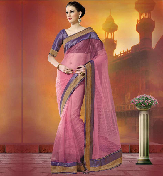 SENSATIONAL NET SAREES FROM INDIA 2015 PINK LINEN FABRIC PARTY WEAR SAREES WITH STONE WORK ON PALLU