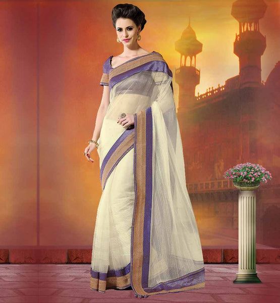 ASTOUNDING DESIGNER NET SAREES FROM INDIA 2015 EYE-CATCHING OFF WHITE SPECIAL OCCASION WEAR SARI WITH PURPLE BLOUSE