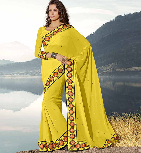 YELLOW GEORGETTE CASUAL WEAR SAREE RTAH621