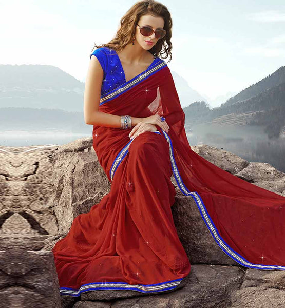 MAROON GEORGETTE CASUAL WEAR SAREE RTAH625