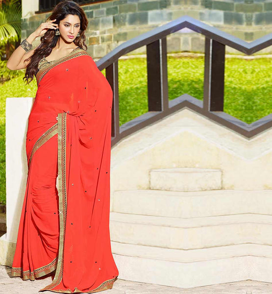 MAROON GEORGETTE CASUAL WEAR SAREE RTAH627