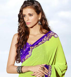 GREEN GEORGETTE CASUAL WEAR SAREE RTAH629