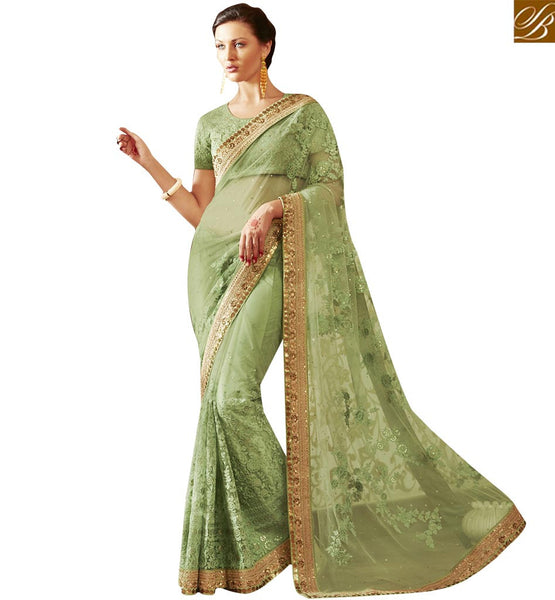FROM THE HOUSE  OF STYLISH BAZAAR SPLENDID GREEN EMBROIDERED DESIGNER SARI ANRA62