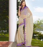 CREAM HANDLOON COTTON CASUAL WEAR SAREE RTAH636