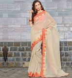 CREAM HANDLOOM COTTON CASUAL WEAR SAREE RTAH638