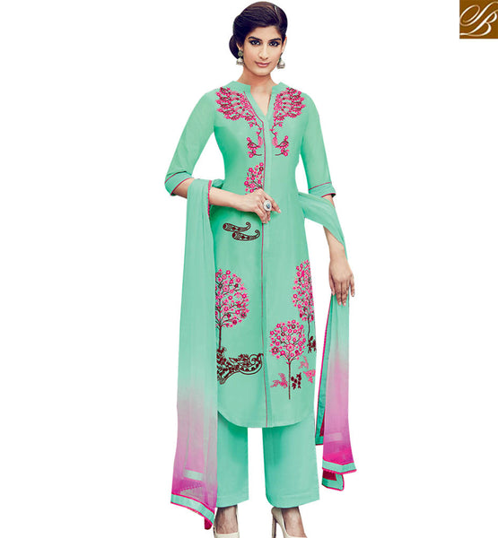 STYLISH BAZAAR BUY MARVELLOUS GREEN SOFT COTTON SALWAR KAMEEZ FROM STYLISH BAZAAR WITH FLOWER WORK KMV6402