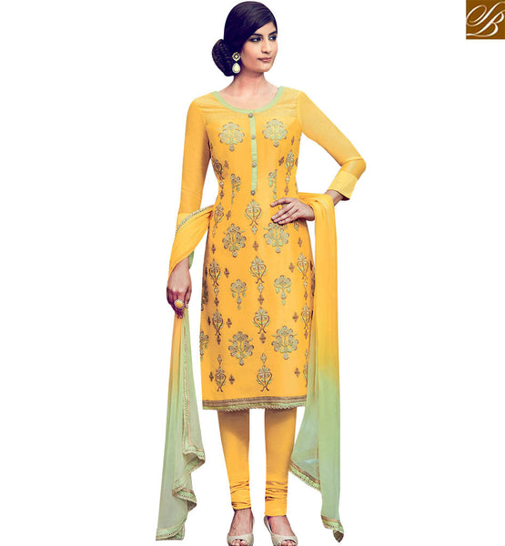 STYLISH BAZAAR DELIGHTFUL MUSTARD COTTON SATIN DESIGNER SALWAR KAMEEZ WITH SHADED DUPATTA KMV6403