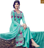 STYLISH BAZAAR GORGEOUS SEA GREEN COTTON SATIN SALWAR KAMEEZ WITH WELL FLOWER WORK ON TOP & PLAZZO STYLE KMV6404