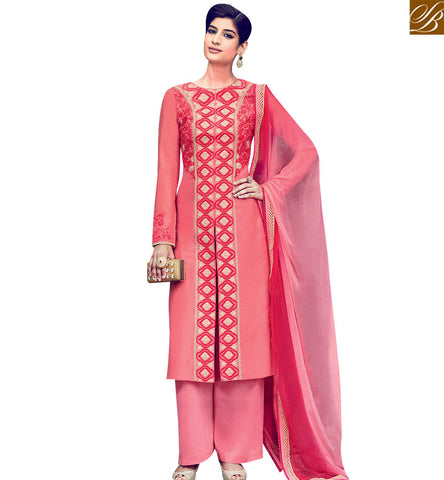 STYLISH BAZAAR DAZZLING PEACH & RED COTTON SATIN EMBROIDERED SALWAR KAMEEZ WITH PLAZZO STYLE KMV6405