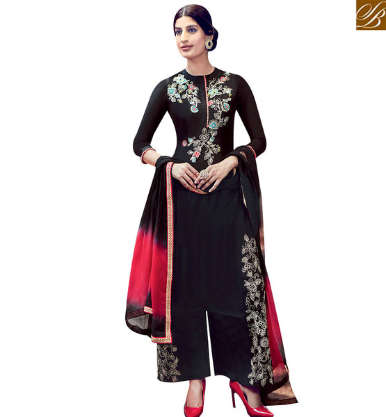 STYLISH BAZAAR GOOD LOOKING BLACK COTTON SATIN SALWAR KAMEEZ HAVING WELL EMBROIDERY WORK ON TOP WITH PLAZZO KMV6407