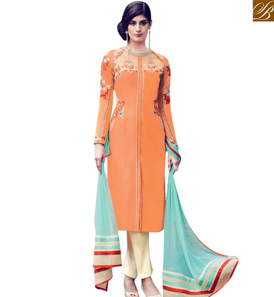 STYLISH BAZAAR MAGNIFICENT ORANGE COTTON SATIN DESIGNER SALWAR KAMEEZ WITH CREAM BOTTOM & SEA GREEN DUPATTA KMV6408