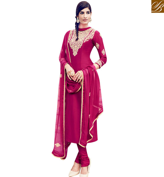 STYLISH BAZAAR ATTARACTIVE MATOON COLOR COTTON SATIN SALWAR KAMEEZ WITH WELL EMBROIDERY ON TOP NECK KMV6409
