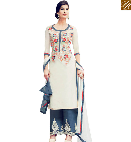 STYLISH BAZAAR INVITING CREAM COLOR COTTON SATIN SALWAR SUIT WITH STRAIGHT CUT & PLAZZO STYLE KMV6411