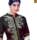FROM THE HOUSE OF STYLISH BAZAAR STYLISH BLACK COTTON SATIN STRAIGHT CUT SALWAR KAMEEZ WITH OFF WHITE DUPATTA KMV6412