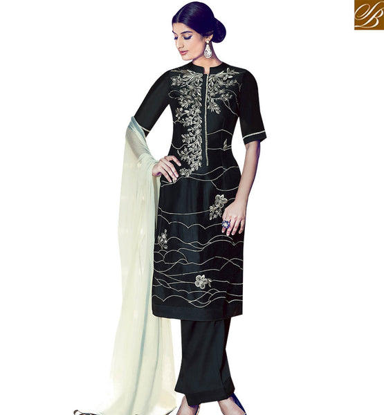 STYLISH BAZAAR STYLISH BLACK COTTON SATIN STRAIGHT CUT SALWAR KAMEEZ WITH OFF WHITE DUPATTA KMV6412