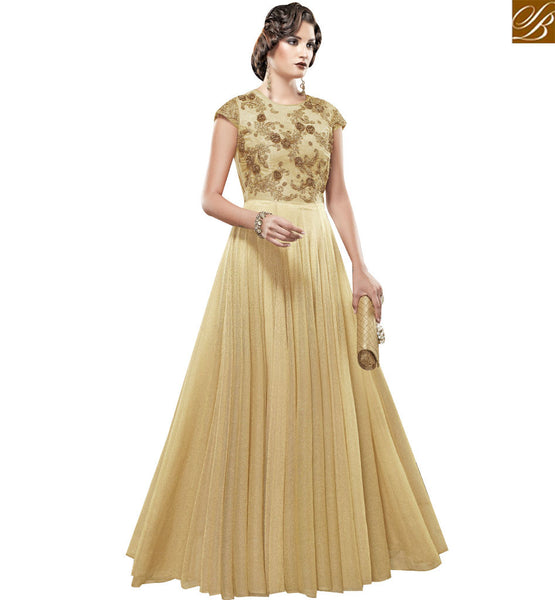 STYLISH BAZAAR BEAUTIFUL CREAM SILK EMBROIDERED GOWN WITH FLOOR LENGTH SLSHV6660