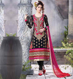 EVERSTYLISH STRAIGHT CUT SALWAR KAMEEZ DESIGNS  ETHNIC STYLE PURE GEORGETTE SUIT WITH RICH EMBROIDERY WORK ALL OVER IT