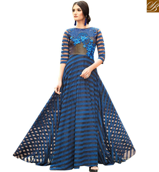 STYLISH BAZAAR ATTRACTIVE BLUE SATIN FLOWERY EMBROIDERED GOWN WITH FLOOR LENGTH SLSHV6661