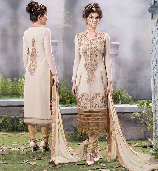 STYLISH BAZAAR PUNJABI SALWAR KAMEEZ NECK DESIGN PURE GEORGETTE CREAM EMBROIDERED SUIT WITH BEIGE SALWAR AND MATCHING DUPATTA