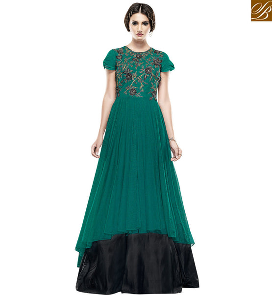 STYLISH BAZAAR WONDERFUL GREEN NET DESIGNER GOWN HAVING FLORAL WORK ON CHEST AREA SLSHV6662