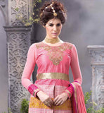 FINE NECKLINE WITH DETAILED THREAD WORK AND STONE WORK AND LACE AT HEMLINE DUSTY PINK PURE GEORGETTE TOP WITH MATCHING SANTOON SALWAR AND PURE NAZNEEN ODHNI