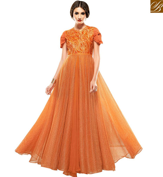 STYLISH BAZAAR PLEASING ORANGE JACQUARD NET DESIGNER GOWN HAVING THREAD WORK ON TOP SLSHV6663