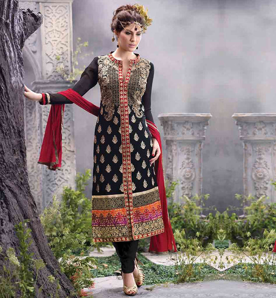 LATEST DESIGN INDIAN SALWAR SUIT AT AFFORDABLE RATE BLACK PARTY WEAR DRESS WITH CONTRAST RED PURE NAZNEEN DUPATTA