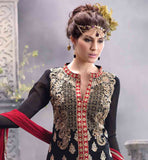 BLACK PARTY WEAR DRESS WITH CONTRAST RED PURE NAZNEEN DUPATTA PURE GEORGETTE KAMEEZ HAS RICH EMBROIDERY WORK ALL OVER IT AND COMES WITH SANTOON BOTTOM