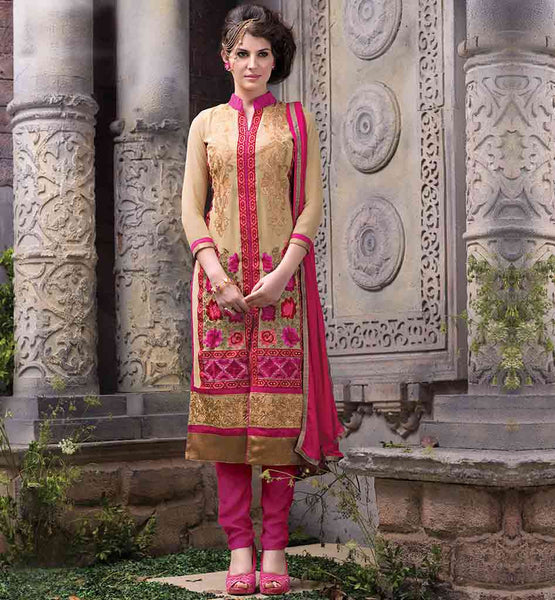 STYLISH BAZAAR INDIAN SALWAR SUIT ONLINE BOUTIQUE BEIGE PURE GEORGETTE KAMEEZ WITH PINK SALWAR AND PURE NAZNEEN DUPATTA