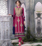 WOMENS EVERSTYLISH ETHNIC SALWAR SUIT DESIGN PURE GEORGETTE STRAIGHT CUT PINK EMBROIDERY WORK DRESS WITH SMART PATTERN