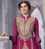 PURE GEORGETTE STRAIGHT CUT PINK EMBROIDERY WORK DRESS WITH SMART PATTERN STUNNING SHADED PURE NAZNEEN DUPATTA ADDS CHARM TO THIS PARTY WEAR GARMENT