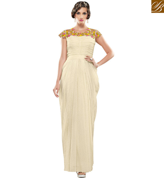 STYLISH BAZAAR CAPTIVATING CREAM JACQUARD NET DESIGNER GOWN HAVING FLORAL WORK ON SHOULDER SLSHV6666