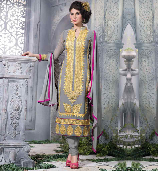 PURE GEORGETTE PUNJABI SALWAR SUIT DESIGNS GREY STRAIGHT CUT PURE GEORGETTE DRESS WITH PURE NAZNEEN DUPATTA