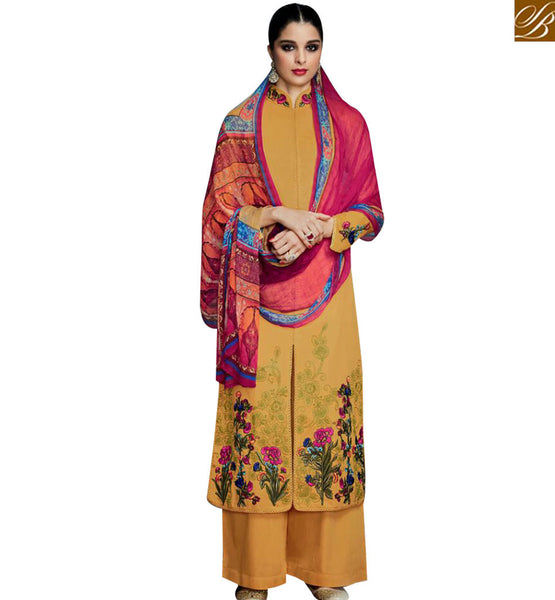 STYLISH BAZAAR BUY MUSTARD COTTON SATIN FLORAL EMBROIDERED PLAZZO STYLE SALWAR KAMEEZ WITH HYNECK KMV6701