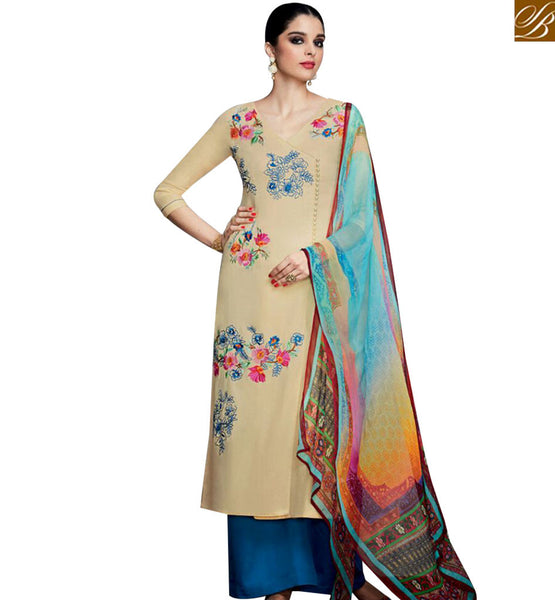 STYLISH BAZAAR SPLENDID COTTON SATIN DESIGNER STRAIGHT CUT SALWAR KAMEEZ WITH FLORAL EMBROIDERY KMV6702