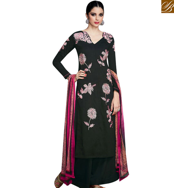 STYLISH BAZAAR STUNNING BLACK COTTON SATIN FLORAL EMBROIDERED STRAIGHT CUT SALWAR KAMEEZ WITH PRINTED DUPATTA KMV6704