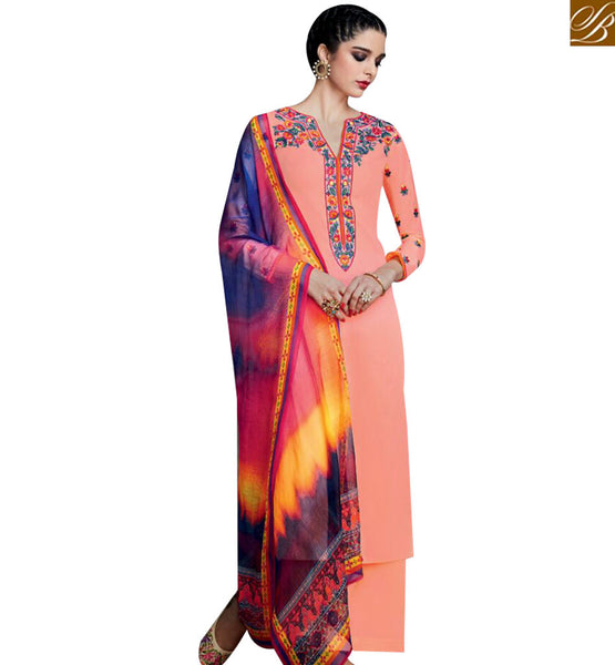 STYLISH BAZAAR DAZZLING PEACH DESIGNER STRAIGHT CUT SALWAR KAMEEZ WITH CASUAL WEAR PLAZZO STYLE KMV6705
