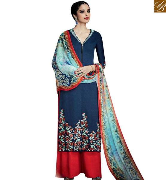 STYLISH BAZAAR SHOP BLUE COTTON SATIN STRAIGHT CUT SALWAR KAMEEZ WITH PLAZZO STYLE FROM STYLISH BAZAAR KMV6707