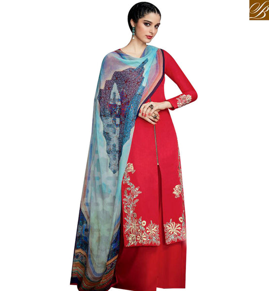 STYLISH BAZAAR CAPTIVATING RED DESIGNER STRAIGHT CUT SALWAR KAMEEZ HAVING PRINTED CHIFFON DUPATTA KMV6708