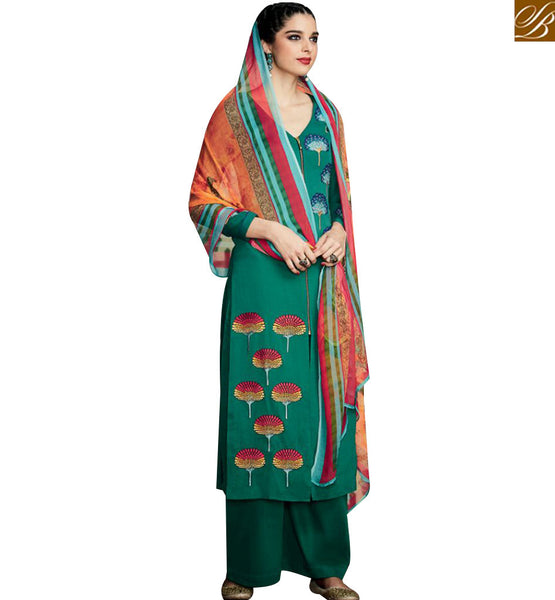 STYLISH BAZAAR AMAZING GREEN COTTON SATIN HAVING FLOWERY EMBROIDERY SALWAR KAMEEZ WITH PLAZZO STYLE KMV6709