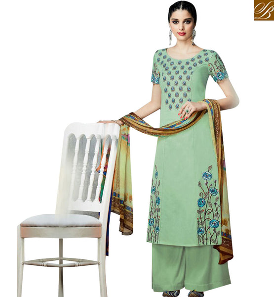 STYLISH BAZAAR SEA GREEN COTTON SATIN EMBROIDERED CASUAL WEAR SALWAR KAMEEZ WITH PLAZZO STYLE KMV6712