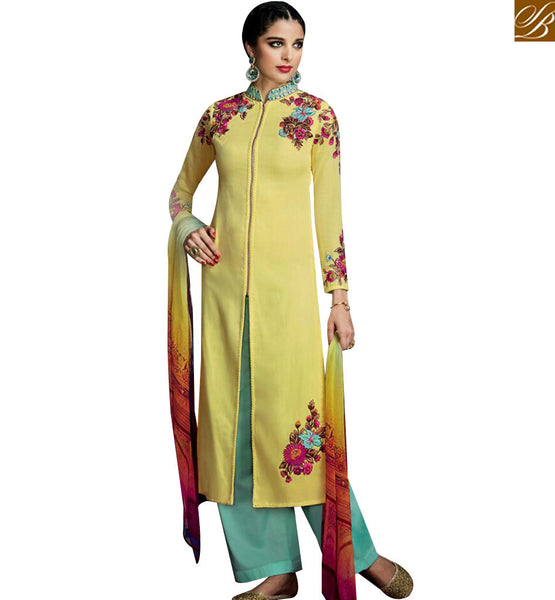 STYLISH BAZAAR BEWITCHING COTTON SATIN FLORAL EMBROIDERED CASUAL WEAR PLAZZO STYLE SALWAR KAMEEZ KMV6715