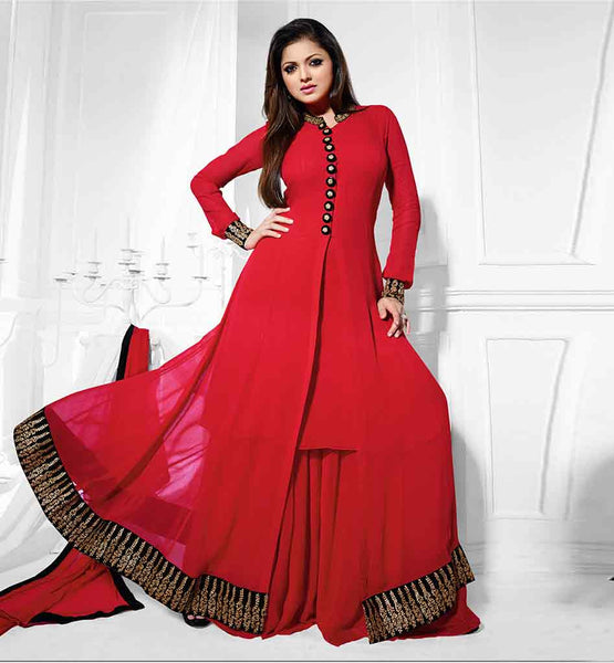 MADHUBALA DRASHTI DHAMI IN DESIGNER RAVISHING RED COLOR SALWAR KAMEEZ