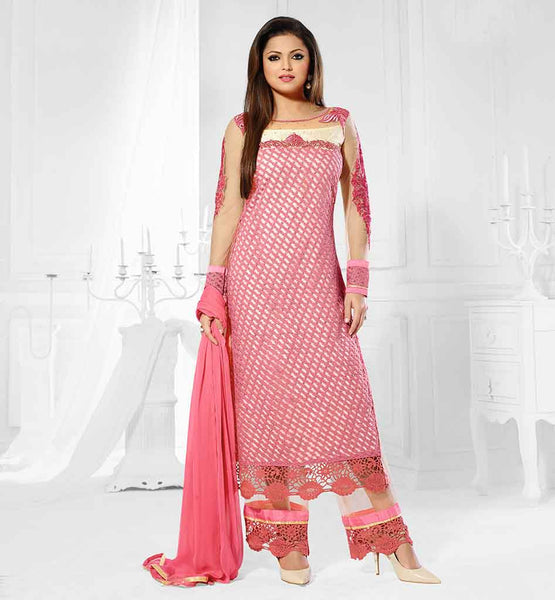 DRASHTI DHAMI MADHUBALA PARTY WEAR PINK STRAIGHT SALWAR KAMEEZ DRESS