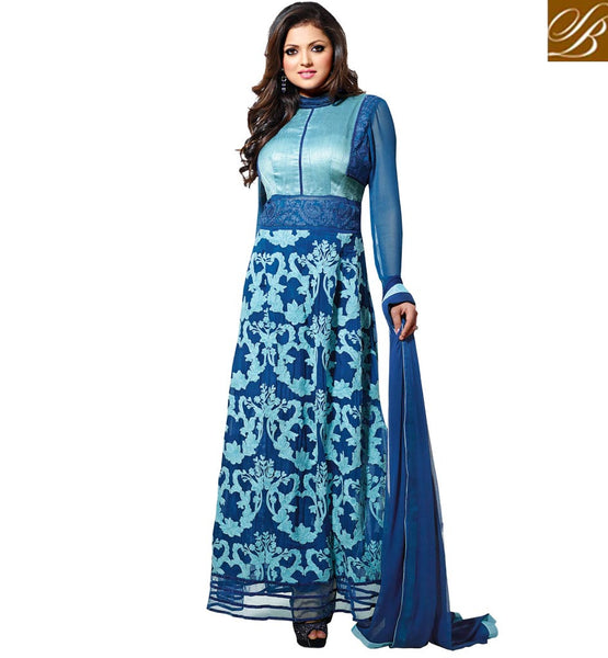 MADHUBALA DRASHTI DHAMI DRESSES COLLECTION BLUE THREADWORK ANARKALI